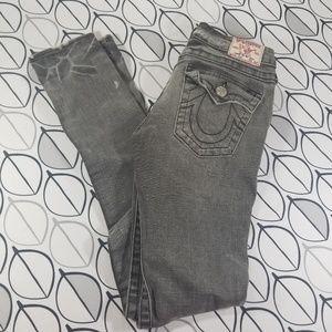 True Religion Distressed Gray Julie Skinny Jeans